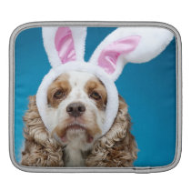 Portrait of dog wearing Easter bunny ears iPad Sleeve