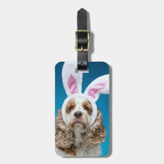 Portrait of dog wearing Easter bunny ears Luggage Tag