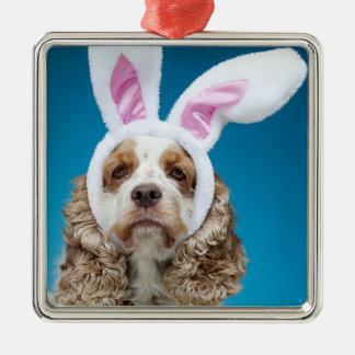 Portrait of dog wearing Easter bunny ears Metal Ornament