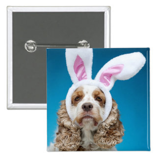 Portrait of dog wearing Easter bunny ears Pinback Button