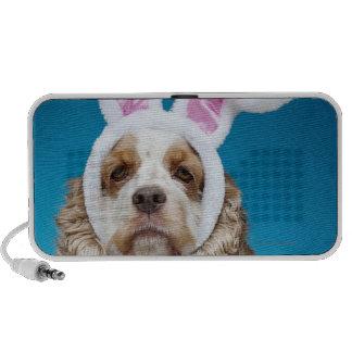 Portrait of dog wearing Easter bunny ears Portable Speaker