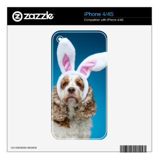 Portrait of dog wearing Easter bunny ears Skin For iPhone 4