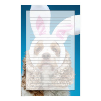 Portrait of dog wearing Easter bunny ears Stationery