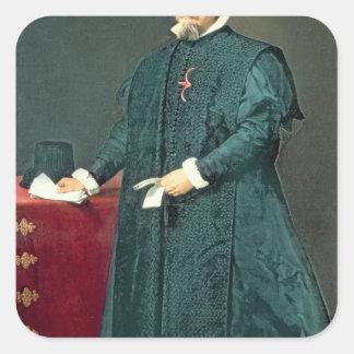 Portrait of Don Diego de Corral y Arellano Square Stickers