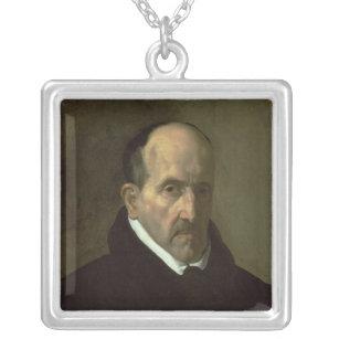 Portrait of Don Luis de Gongora y Argote  1622 Silver Plated Necklace