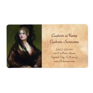 Portrait of Dona Isabel de Cabos Porsel   de Goya Shipping Label