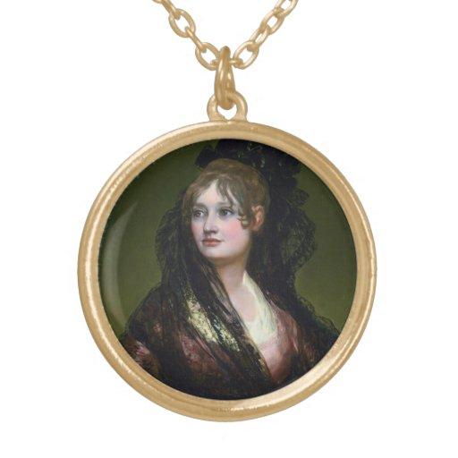 Portrait of Dona Isabel de Cabos Porsel   de Goya Round Pendant Necklace
