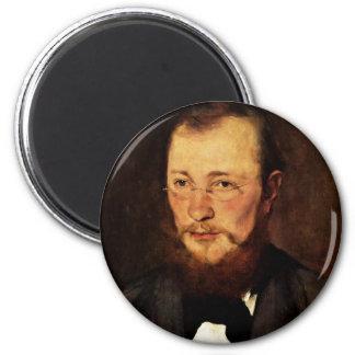 Portrait Of Dr. Frederick Rauert By Leibl Wilhelm Refrigerator Magnet