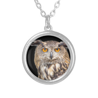 Portrait of eagle owl on black background silver plated necklace
