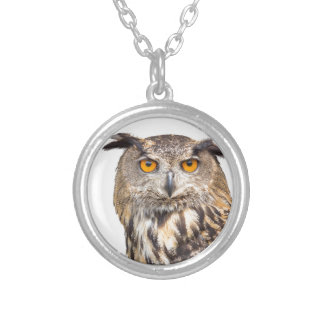 Portrait of eagle owl on white silver plated necklace