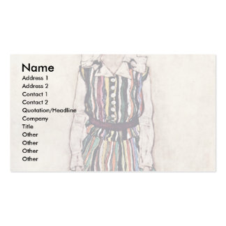 Portrait Of Edith Schiele In Striped Dress Double-Sided Standard Business Cards (Pack Of 100)