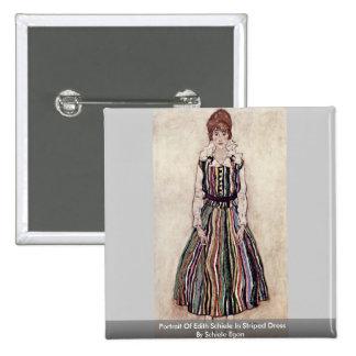 Portrait Of Edith Schiele In Striped Dress Pinback Buttons