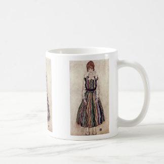 Portrait Of Edith Schiele In Striped Dress Mug