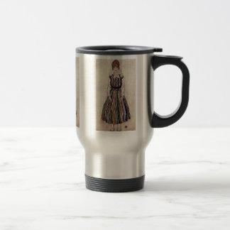 Portrait Of Edith Schiele In Striped Dress 15 Oz Stainless Steel Travel Mug