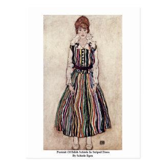 Portrait Of Edith Schiele In Striped Dress Postcard