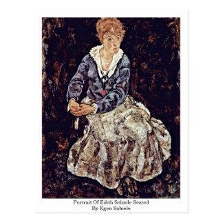 Portrait Of Edith Schiele Seated By Egon Schiele Postcard