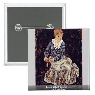 Portrait Of Edith Schiele Seated By Schiele Egon Pin