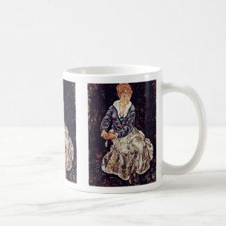 Portrait Of Edith Schiele Seated By Schiele Egon Coffee Mugs