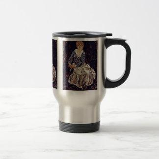 Portrait Of Edith Schiele Seated By Schiele Egon 15 Oz Stainless Steel Travel Mug