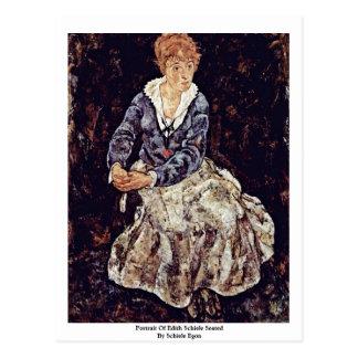 Portrait Of Edith Schiele Seated By Schiele Egon Postcard