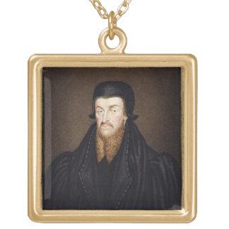 Portrait of Edmund Grindal (c.1519-83) Archbishop Gold Plated Necklace