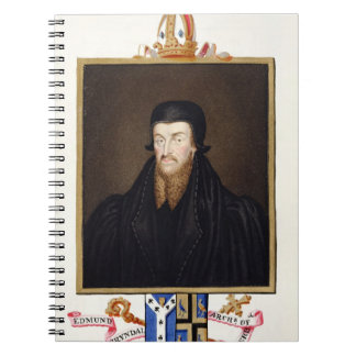 Portrait of Edmund Grindal (c.1519-83) Archbishop Spiral Notebook