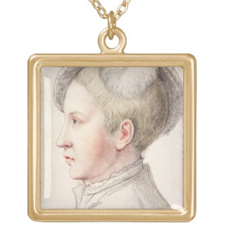 Portrait of Edward VI (1537-53) engraved by France Square Pendant Necklace