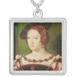 Portrait of Eleanor of Hapsbourg Square Pendant Necklace