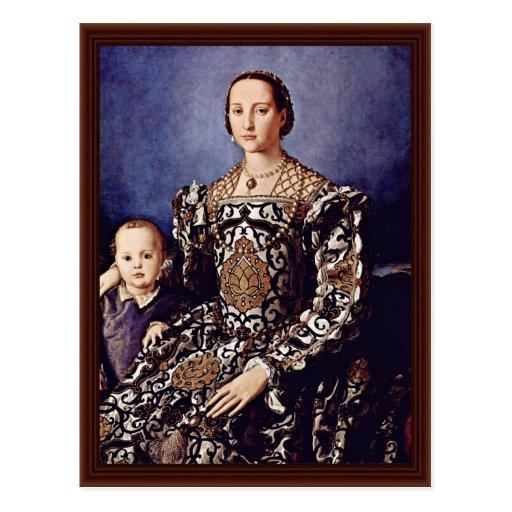 Portrait Of Eleonora Di Toledo  By Bronzino Angelo Post Cards