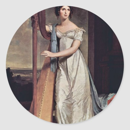 Portrait Of Eliza Ridgely (The Lady With The Harp) Classic Round Sticker