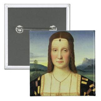 Portrait of Elizabeth Gonzaga, c.1504 (oil on pane 2 Inch Square Button