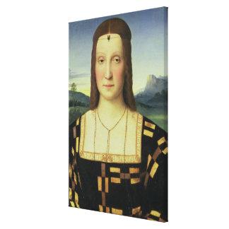 Portrait of Elizabeth Gonzaga, c.1504 (oil on pane Canvas Print