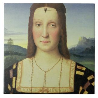 Portrait of Elizabeth Gonzaga, c.1504 (oil on pane Ceramic Tile