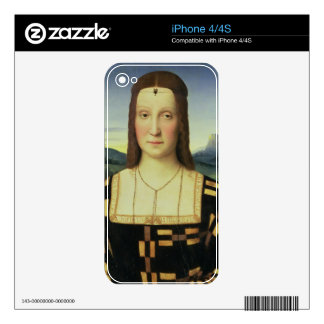 Portrait of Elizabeth Gonzaga, c.1504 (oil on pane Decals For The iPhone 4S