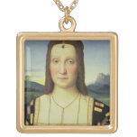 Portrait of Elizabeth Gonzaga, c.1504 (oil on pane Square Pendant Necklace
