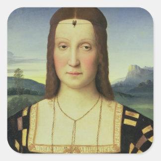 Portrait of Elizabeth Gonzaga, c.1504 (oil on pane Square Sticker