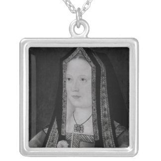 Portrait of Elizabeth of York Silver Plated Necklace