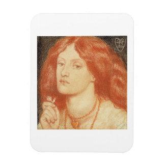 Portrait of Elizabeth Siddal (1834-62), 1860 (red Rectangular Photo Magnet