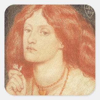 Portrait of Elizabeth Siddal (1834-62), 1860 (red Square Sticker