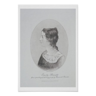 Portrait of Emily Bronte (1818-48) engraved by Wal Poster