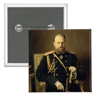 Portrait of Emperor Alexander III  1886 2 Inch Square Button