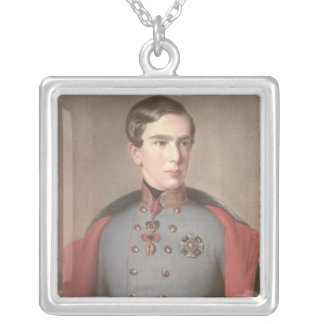 Portrait of Emperor Franz Joseph of Austria Silver Plated Necklace
