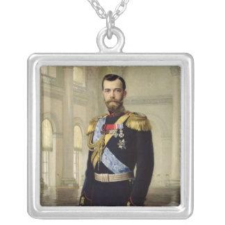Portrait of Emperor Nicholas II, 1900 Silver Plated Necklace