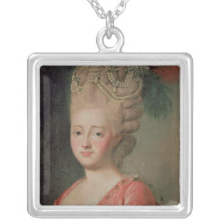 Portrait of Empress Maria Fyodorina , 1770s Silver Plated Necklace