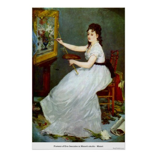 Portrait of Eva Gonzales in Manet's studio - Manet Poster