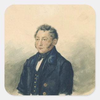 Portrait of Faddey Venediktovich Bulgarin, c.1840 Square Sticker