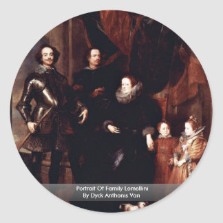 Portrait Of Family Lomellini By Dyck Anthonis Van Round Stickers