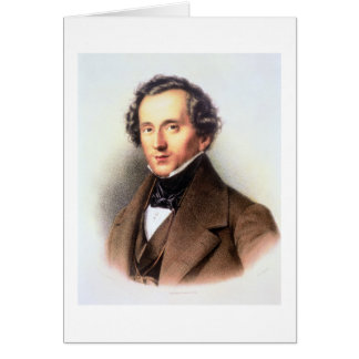 Portrait of Felix Mendelssohn (1809-47) (litho) Card