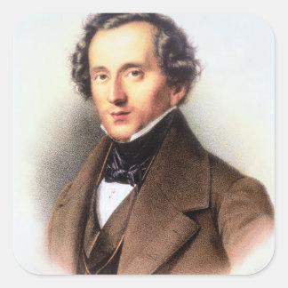 Portrait of Felix Mendelssohn (1809-47) (litho) Square Sticker
