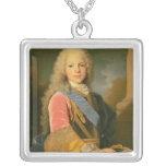 Portrait of Ferdinand de Bourbon Square Pendant Necklace